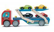 Rennwagen Transporter Set aus Holz