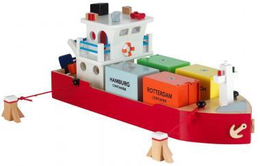 Containerschiff aus Holz  mit 4 Containern