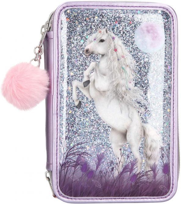Etui Miss Melody 3-fach, gefüllt Glitzer lila